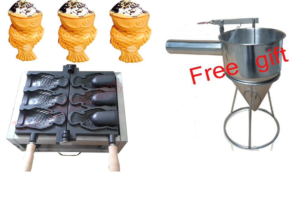 Buy machine free get 6 gifts!! Electrec Ice cream Taiyaki machine Fish Waffle maker digital taiwan taiyaki machine taiyaki waffle making machine