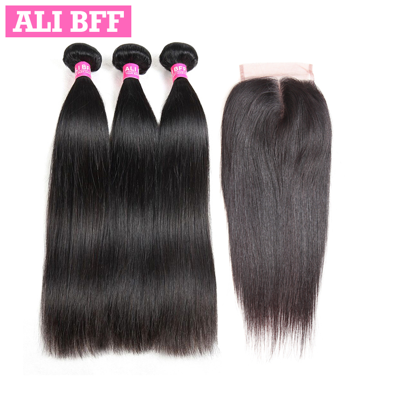 ALI BFF Indian Straight Hair Bundles With Closure 100% Human Hair With Lace Closure Remy Hair Weave Bundles Can Be Dyed