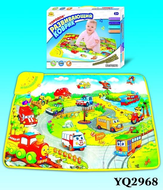 Hot Sale children Russian multi-function music game blanket Transportation Carpet 70*50cm