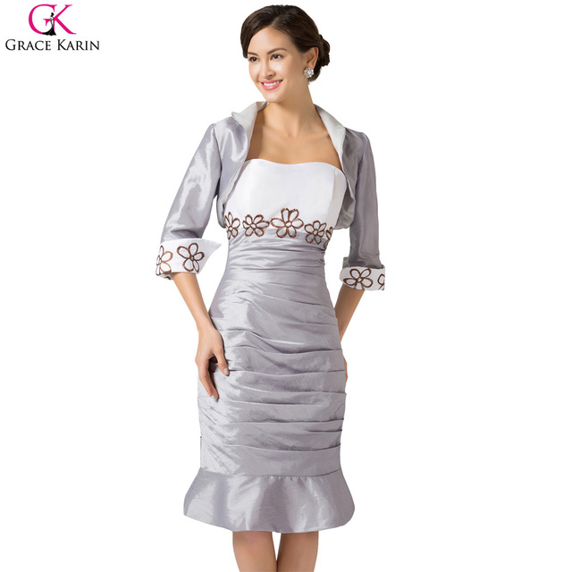 Graça Karin Robe Terno Cinza Duas Peças Mãe Dos vestidos de Noiva vestidos Plus Size Mãe Das Noivas Vestidos de Convidado Do Casamento Vestido Com Jaqueta