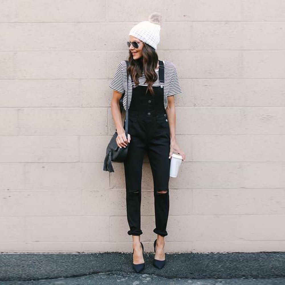 Jeans Chamsgend Womens Button Slim Strap Bib Shorts Jeans Women Loose Denim Bib Hole Pants Demin Trousers Jumpsuit Oc15 Good Heat Preservation Women's Clothing
