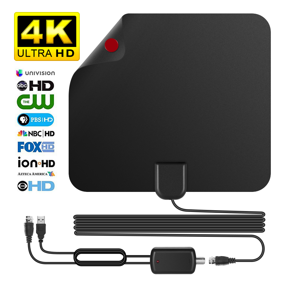 Updated 2018 Version TV Antenna, Indoor Digital HDTV Antenna Amplified 75 Mile Range 4K HD VHF Freeview for Life Local Channels