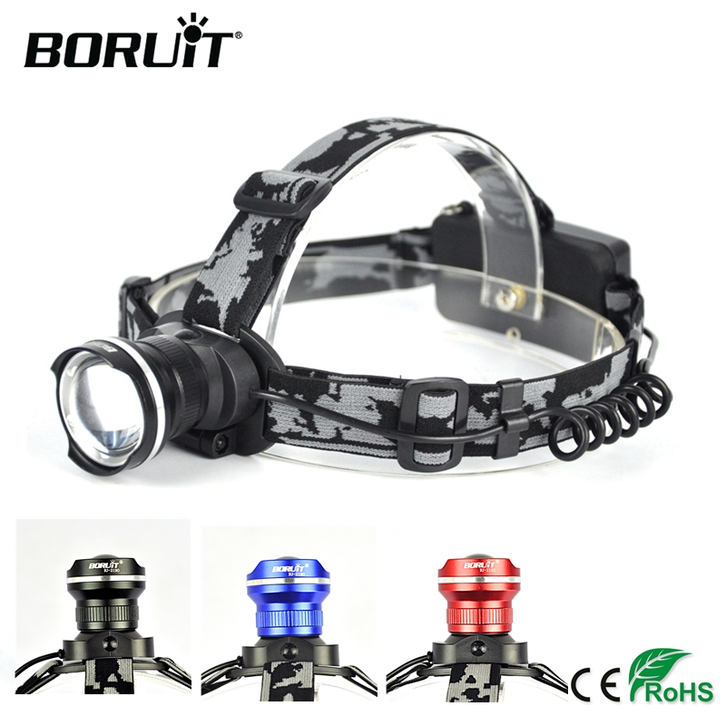BORUiT RJ 2190 XML T6 LED Headlamp 3Mode Zoom Headlight Rechargeable Head Torch Camping Hunting Frontal
