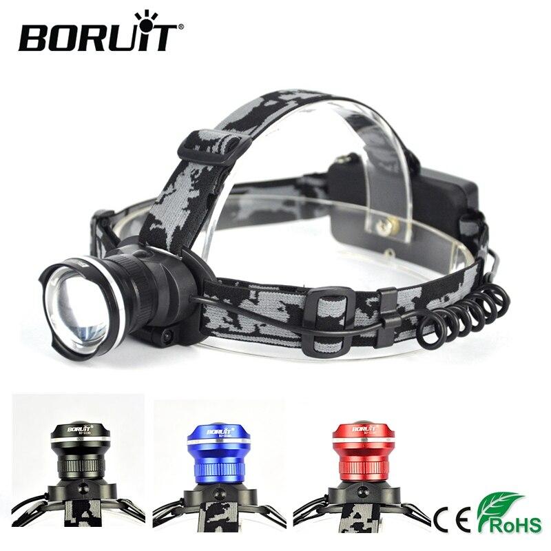 BORUiT RJ-2190 XML T6 LED faro 3 Modo de Zoom faro recargable cabeza antorcha Camping caza Frontal linterna por 18650 batería