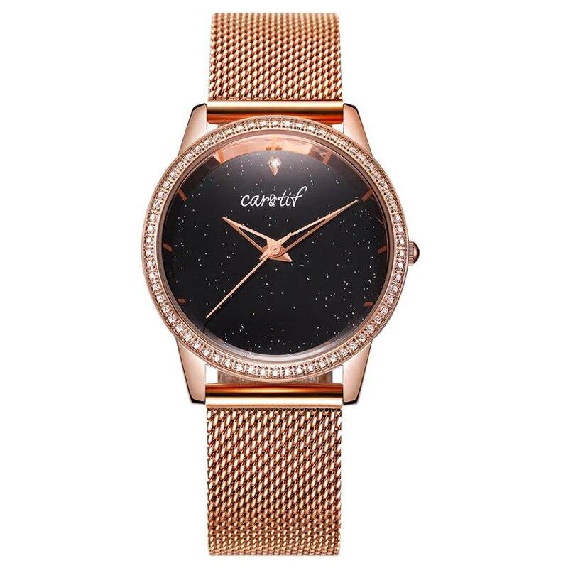 2019 Luxury Rose Gold Women Watches Minimalism Starry sky Mesh Buckle Fashion Casual Dress Female Wristwatch Waterproof Clock