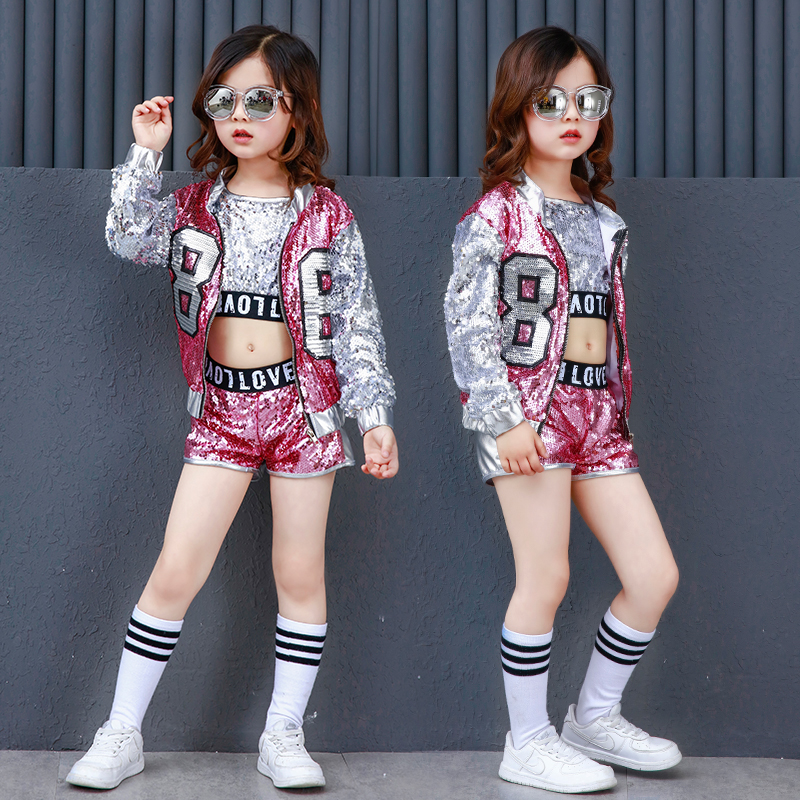 Svitania Kids Girls Dance Costumes Performance Women Children Jazz Hip Hop Dancing Clothes Pop Street Dance Wear Suit