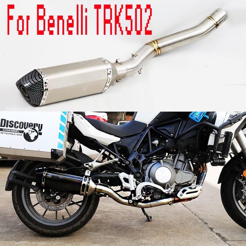 For Benelli TRK502 Exhaust Motorcycle Full Exhaust System Slip-On Muffler Escape Mid Tube DB killer For Benelli TRK 502 BE050
