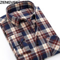 Men Flannel Shirts  Plaid Peach Cotton  flannel men shirt slim fit mens shirts spring autumn casual shirts male camisas