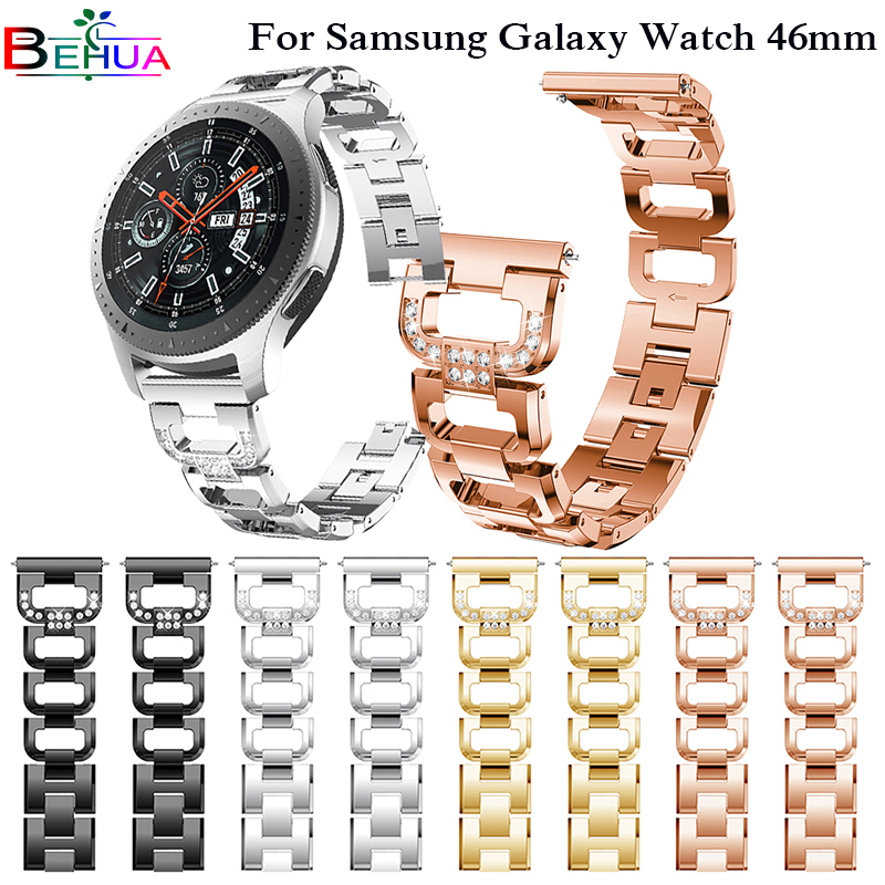 Watch Band for Samsung galaxy watch 46mm Gear S3 Classic Rhinestone Diamond Stainless Steel Metal Bracelet watch Band Strap 22mm silicone sport watchband for gear s3 classic frontier 22mm strap for samsung galaxy watch 46mm band replacement strap bracelet