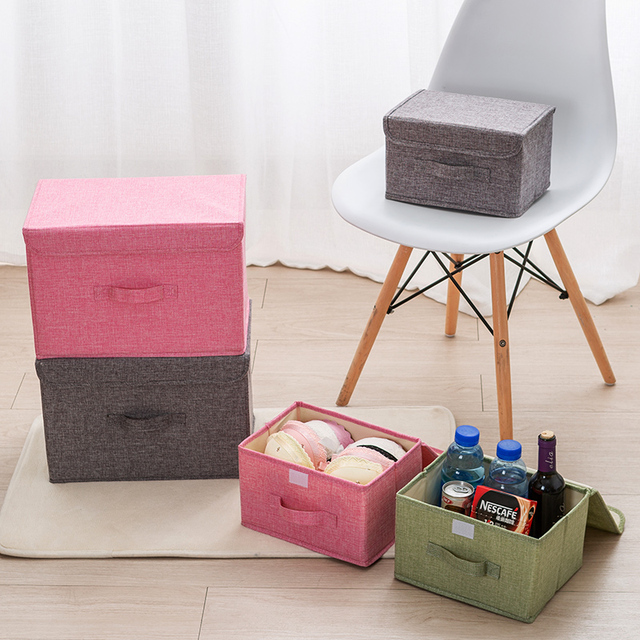 Algodão Tecido de linho dobrável caixa de armazenamento de Crianças Brinquedo De Armazenamento organizador do Armário Gaveta bin Recipiente De Plástico organizador maquiagem