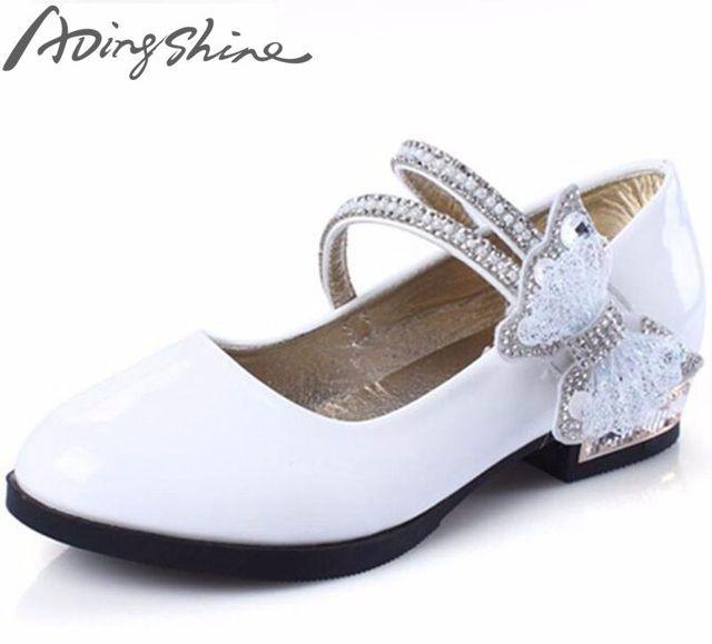 1c622ecc71 2018 adingshine niños Tacones charol niña boda Zapatos blanco rosa Negro  Calzado escolar Niñas princesa Sandal
