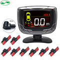 16mm Original Flat Parking Sensors, 8 Sensors LCD Display Buzzer Front Rear Reversing Radar Parking Assistance Monitor System