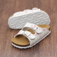 LARTUS Summer New Girls Cork Slippers Leisure Print Flowers Sandals Toddler Baby Girls Sandals Kids Word Cool Slippers 221b