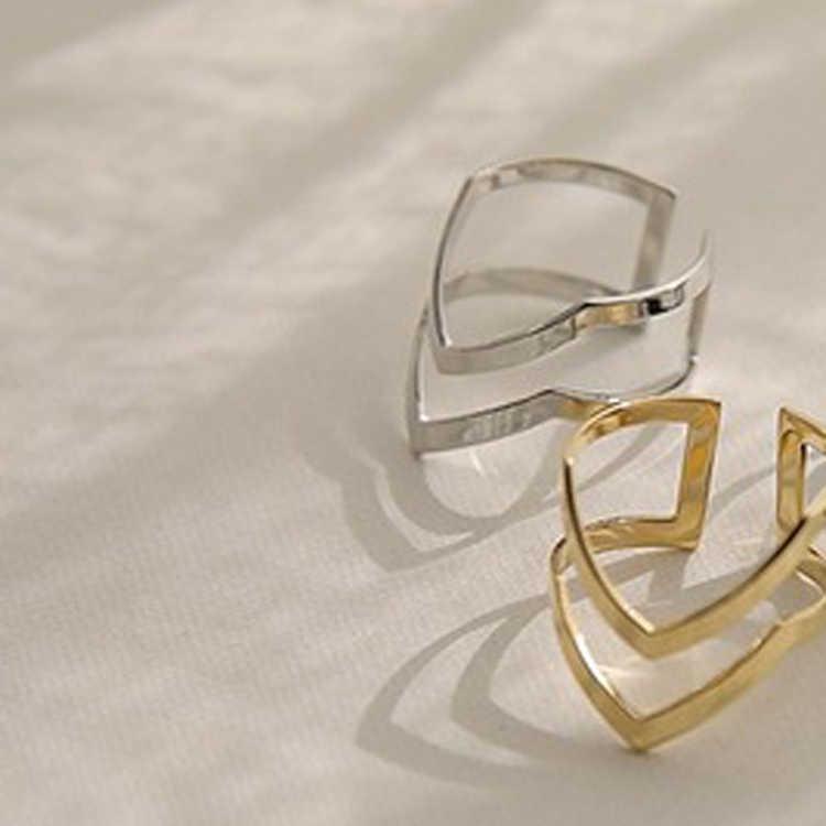 2 stücke Mode Doppel V-förmigen Halb Geöffnet Einstellbare Vintage Frau Ringe Gold Silber Farbe Charming Schmuck