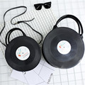Women Girl Lady Japan Lolita Style Vintage Round Vinyl Records CD Designer Bag Messenger Handbag