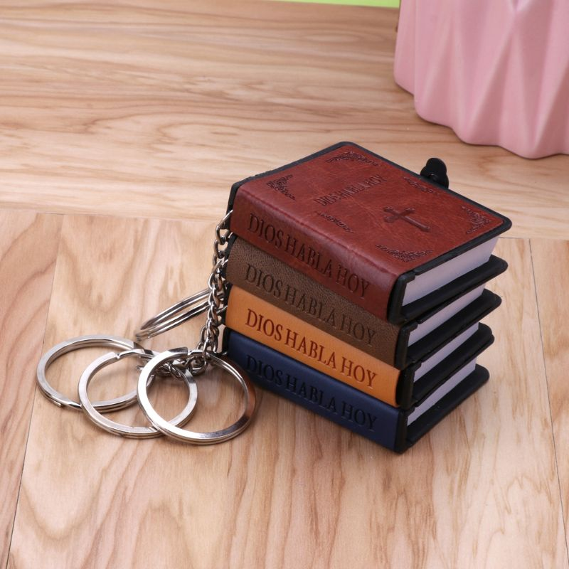 Holy Bible Book Leather Key Ring Miniature Paper Spiritual Christian Jesus Keychain