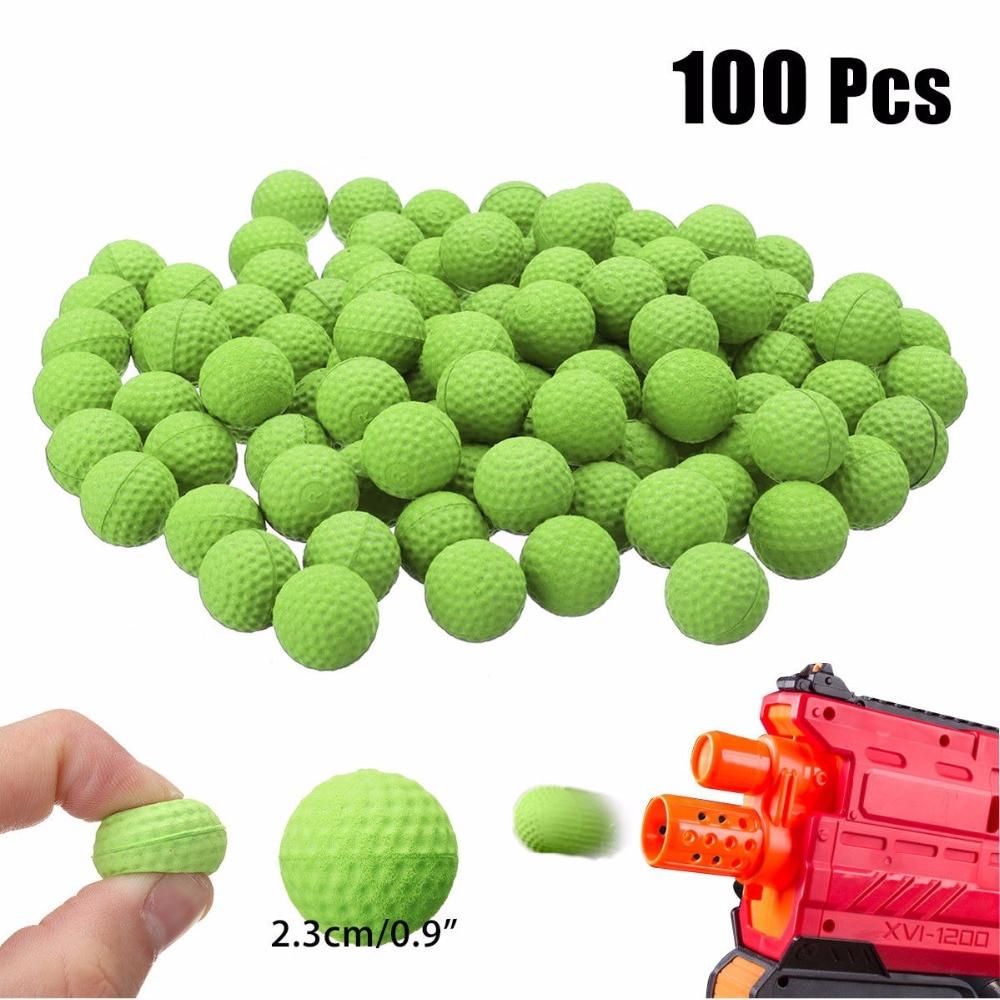 100 pçs redonda recarga espuma nerf bolas de bala substituição compatível para nerf blasters rival apollo arma brinquedo para meninos armas balas