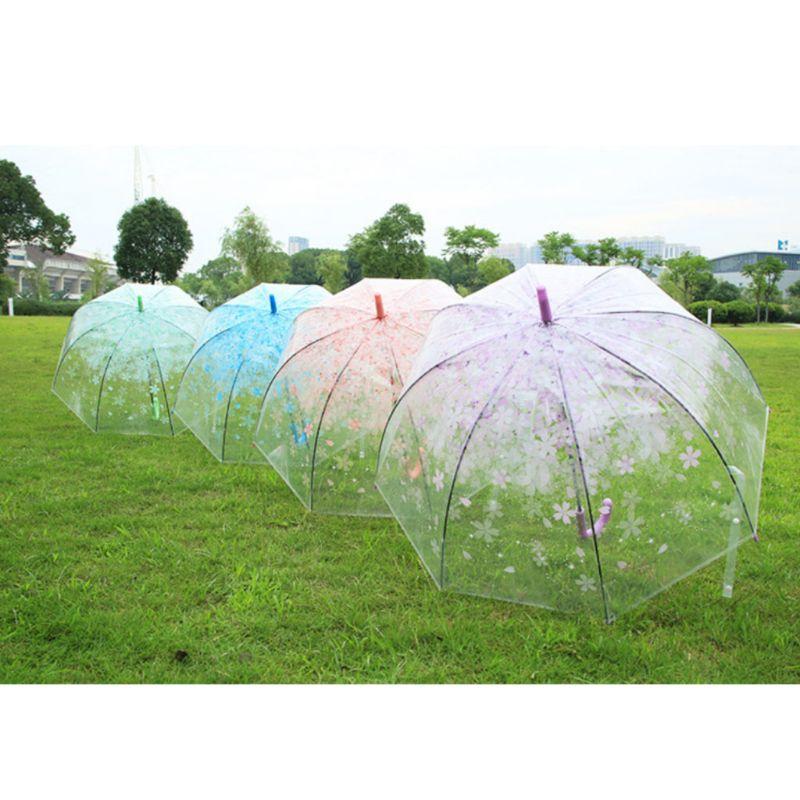 suoryisrty Rom/ántico Transparente Transparente Flores Burbuja C/úpula Paraguas Medio Autom/ático para Viento Fuerte Lluvia Azul