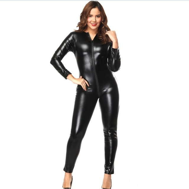 c6903d08fb8 Plus Size Wetlook Sexy Vinyl Jumpsuit for Women Zipper to Crotch Black Faux  Leather Catwoman Costume