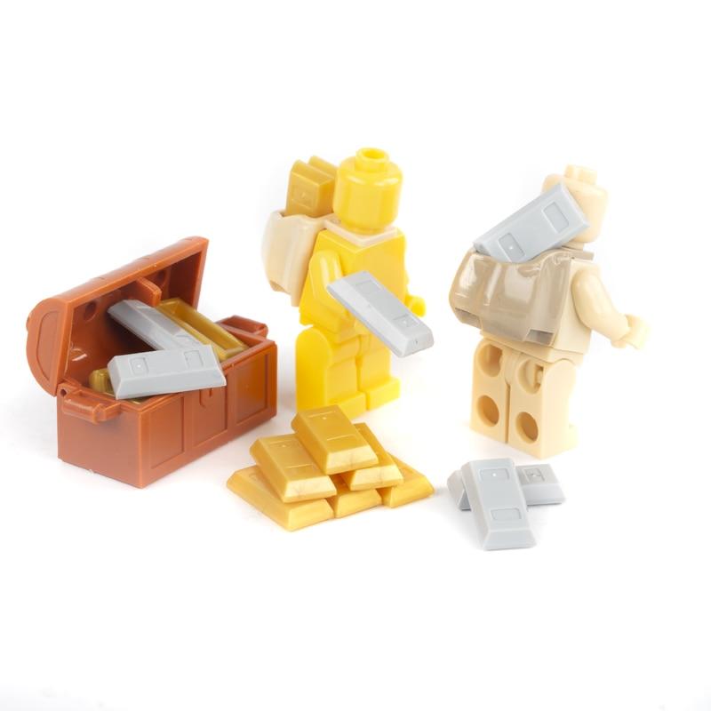 Genteel Bricks City Accessories Money Figure Building Block Bullion Gold Bar Silver Box Backpack Friends Blocks Moc Diy Toy Parts C008