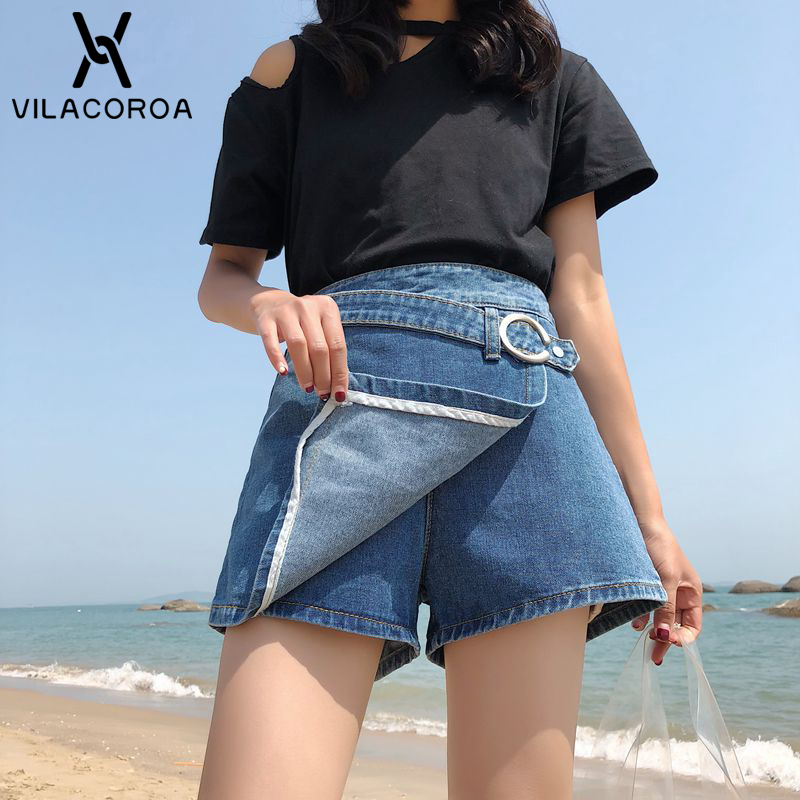 NEW Summer Fashion Cool Lace-Up Jeans Culottes Women's Shorts Slim High Waist Loose Skirt Blue Denim Shorts Modis Short Feminino