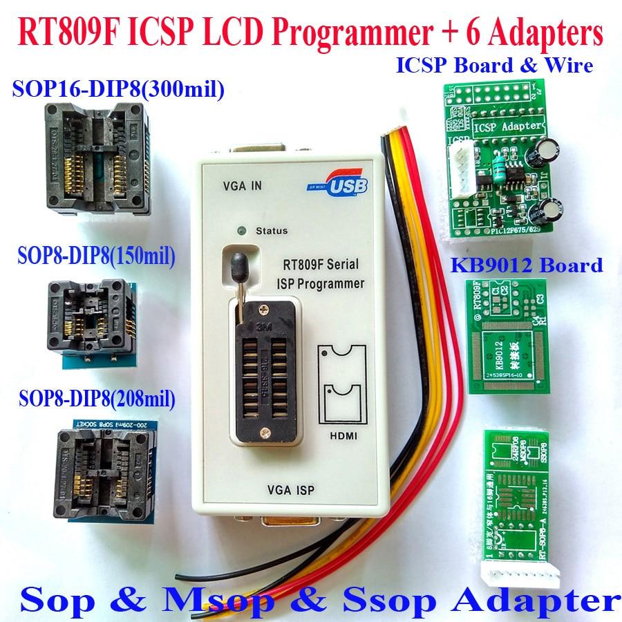 Livraison gratuite Original RT809F programmeur + VGA LCD ICSP programmeur + ICSP câble board + 6 adaptateurs 24 25 93 serise IC