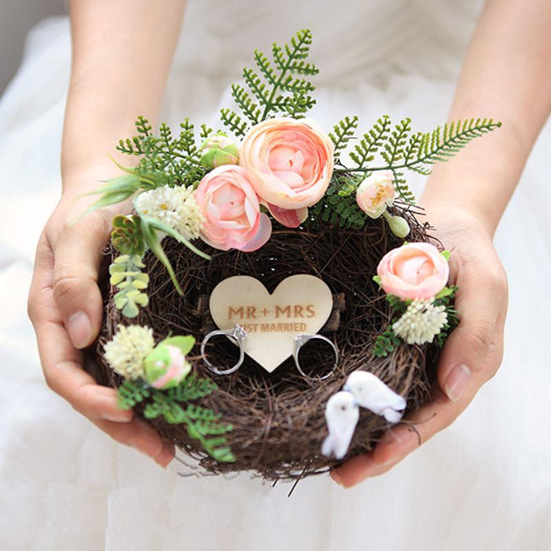 hecho a mano nido de pjaro de la boda anillo de almohada romntico rosa prpura blanco