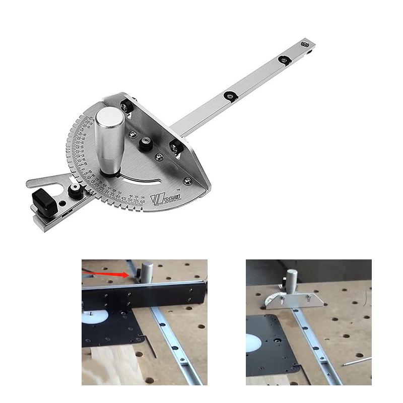 New Miter Gauge Table Saw Router 450mm Length Miter Gauge Router Sawing Accessories Ruler Woodworking DIY Tools Aluminum