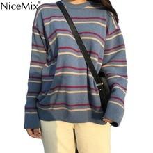 NiceMix Spring Harajuku Stripe Sweater Women Casual Pullovers Autumn Loose Jumpers Korean Streetwear Pull Hiver Femme 2019