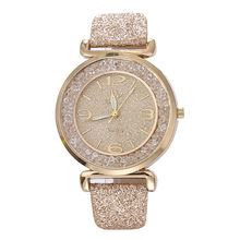 2019 Women'S Watches Top Brand Fashion High Quality With Rhinestones Gold Leather Reloj Mujer Casual Zegarek Damski(China)