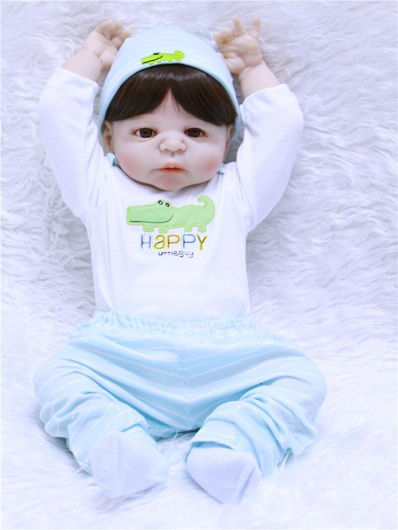 Bebe 55 см мягкие силиконовые куклы Reborn Baby Реалистичная кукла Reborn 22 дюйма полностью виниловая Кукла Reborn Boneca BeBe для девочек