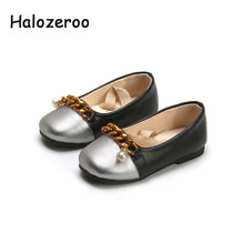 2019 Spring New Baby Girls Pearl Shoes Children Chain Pu Leather Flats Toddler Princess Shoes Brand Ballet Shoes Black Mary Jane(China)