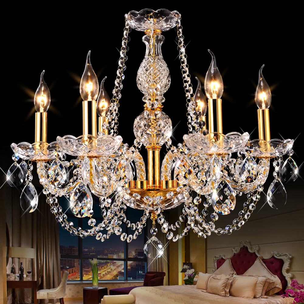 Luxury Crystal Chandelier LED Hanglamp Pendant Lustres Bedroom Dining Room Russia Silver Gold Glass Chandelier Lights Luminaria