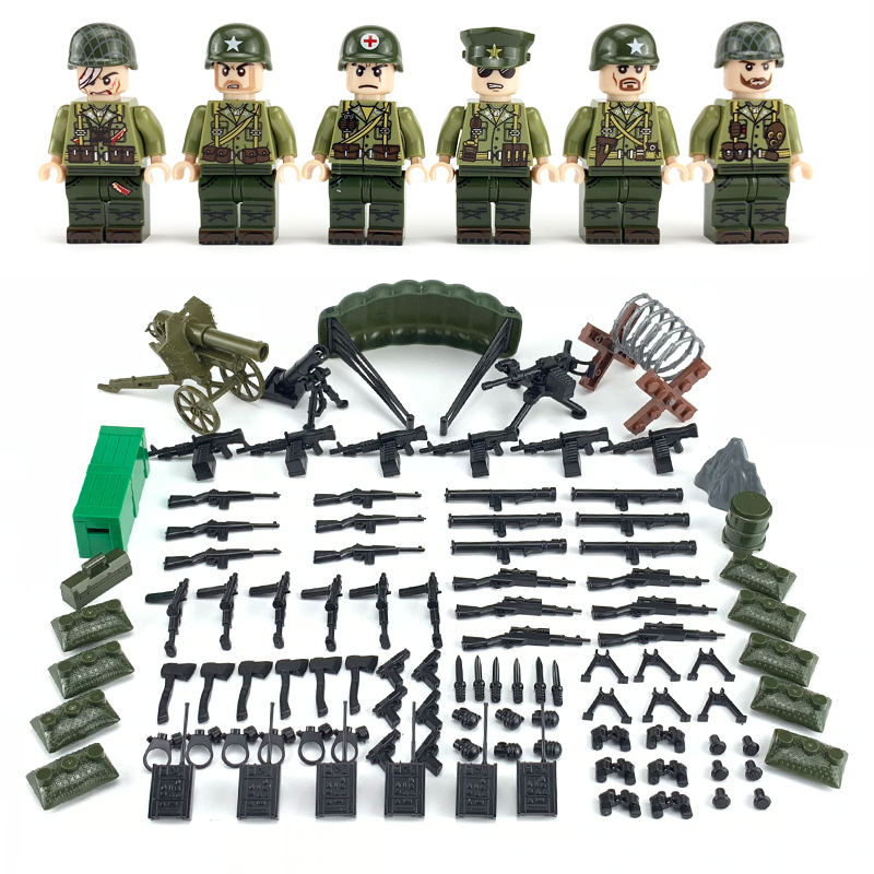 6pcs Weltkrieg 2 US Army Figures Building Blocks Paratroopers Wounded Soldier Military Weapons Accessories Building Blocks Toys