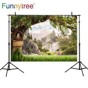 Image 1 - Funnytree fotografia photocall castello albero di montagna in legno paese delle meraviglie del gufo natura Pascolo fantasia fondali Foto sfondo