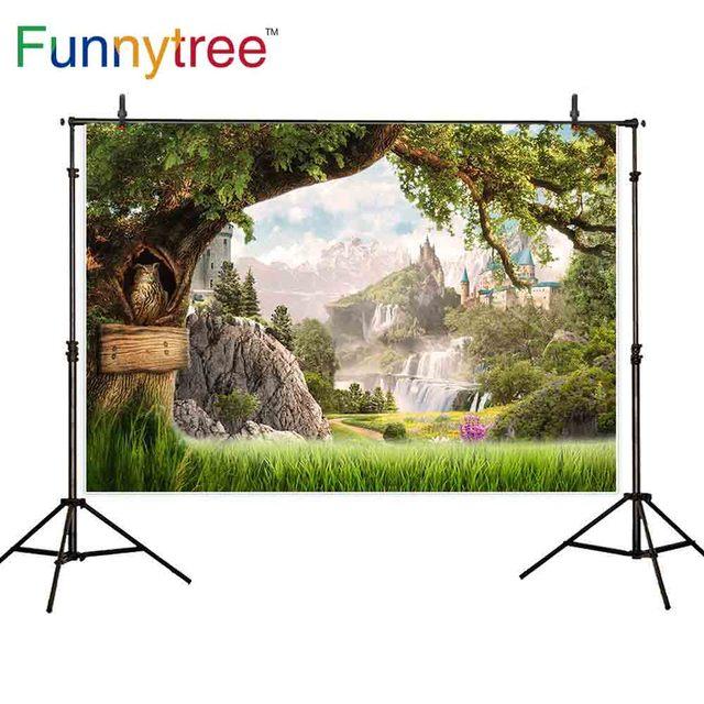 Funnytree fotografia photocall castello albero di montagna in legno paese delle meraviglie del gufo natura Pascolo fantasia fondali Foto sfondo
