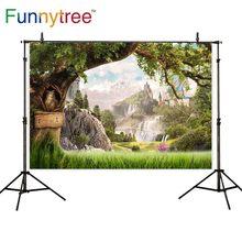 Funnytree 写真 photocall 城山の木木材ワンダーランドフクロウ自然草原ファンタジーバックドロップ写真の背景