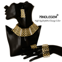 Big Nigerian Wedding African Beads Jewelry Sets Crystal Fashion Dubai Gold Plated Jewelry Sets 18K For