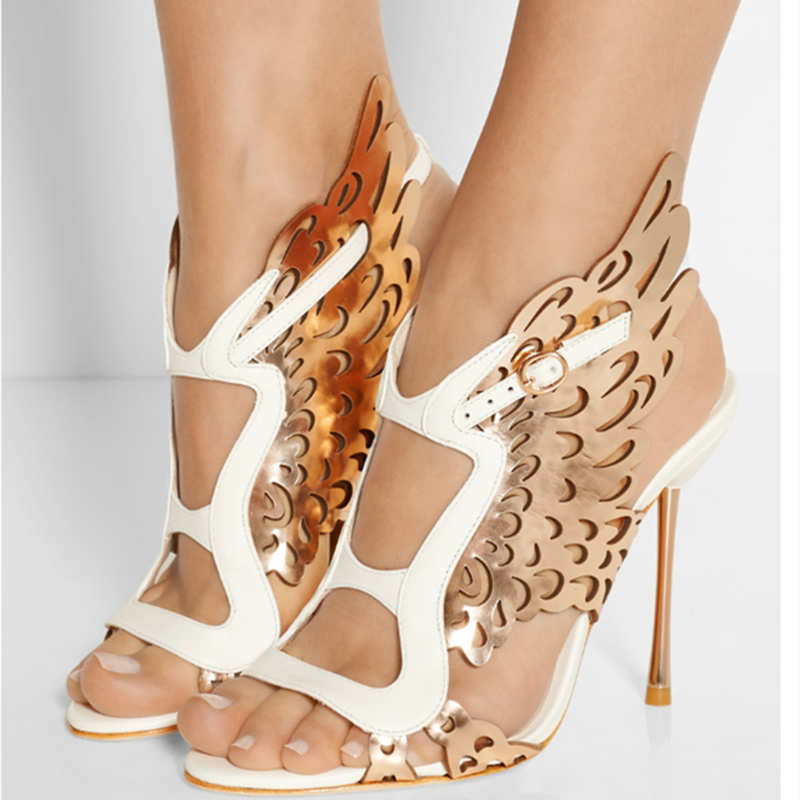 Summer Hot Sale Mixed Color Hollow Butterfly Wings Fashion Women Sandals High Thin Heel Buckle Strap Casual Party Handmade Shoes 2017 new arrival hot sale fashion summer sweet women flats heel sandals pu leather casual buckle strap shoes for women 13 30