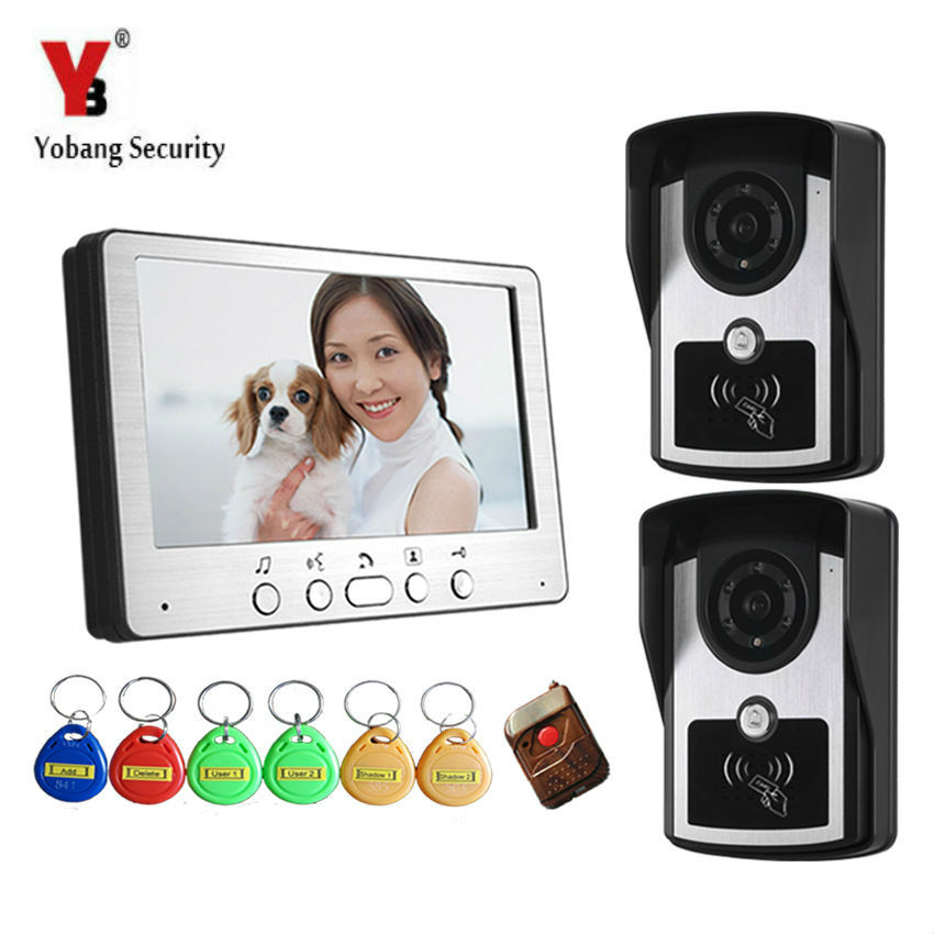 YobangSecurity Video Intercom Monitor 7 Door Phone Home Security Color Wired With RFID ID Keyfobs for House Office Apartment 1 2 life size knee joint anatomical model skeleton human medical anatomy for medical science teaching