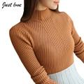 Весна Свитера 2017 Женщины Пуловер Половина Водолазка Твердые Элегантный Повседневная Полный Рукавом Теплый Топы S-XL женщин свитера и пуловеры
