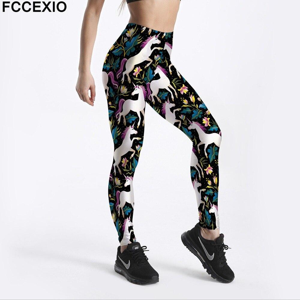 FCCEXIO Women Workout   Leggings   High Waist Fitness   Legging   Unicorn Horse Flower Print Leggins Female Leg Pants Large Size   Legging