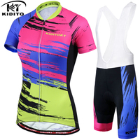 KIDITOKT 2018 Summer Breathable Women Short Sleeve Cycling Jerseys Sets Quick Dry Bike Bib Clothing Maillot
