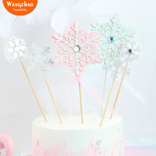 3pcs/set Pink Blue Twinkle Diamond Snowflake Cake Topper Romantic Cupcake for Winter Xmas Merry Christmas New Year 2019
