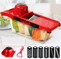 High Quality Mandoline Slicer Vegetable Cutter With 6pcs Stainless Steel Blades Manual Potato Peeler Grater Wave