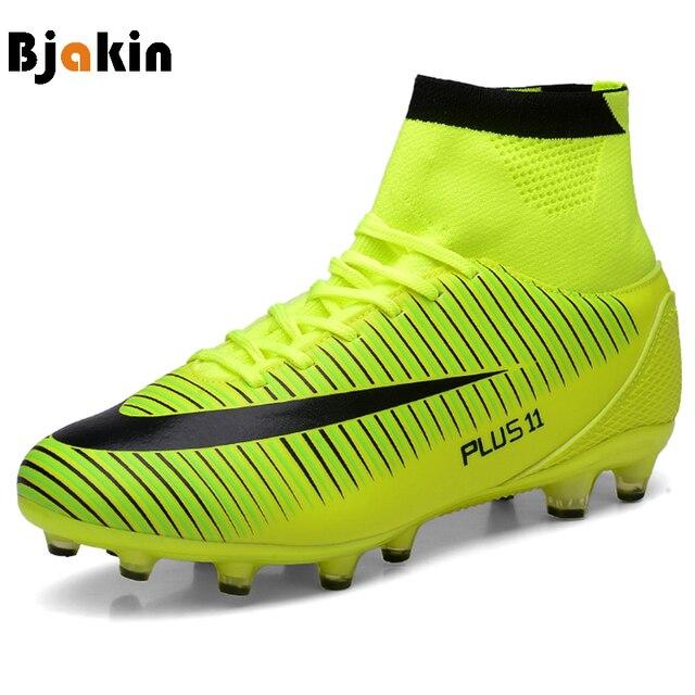 Bjakin Новые взрослых Для мужчин открытый Футбол бутсы Обувь высокие TF/FG Футбол Сапоги и ботинки для девочек Обучение Спорт Спортивная обувь Обувь плюс размеры: 35–46