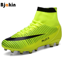 Bjakin New Adults Men's Outdoor Soccer Cleats Shoes High Top TF/FG Football Boots Training Sports Sneakers Shoes Plus Size 35-46(China)