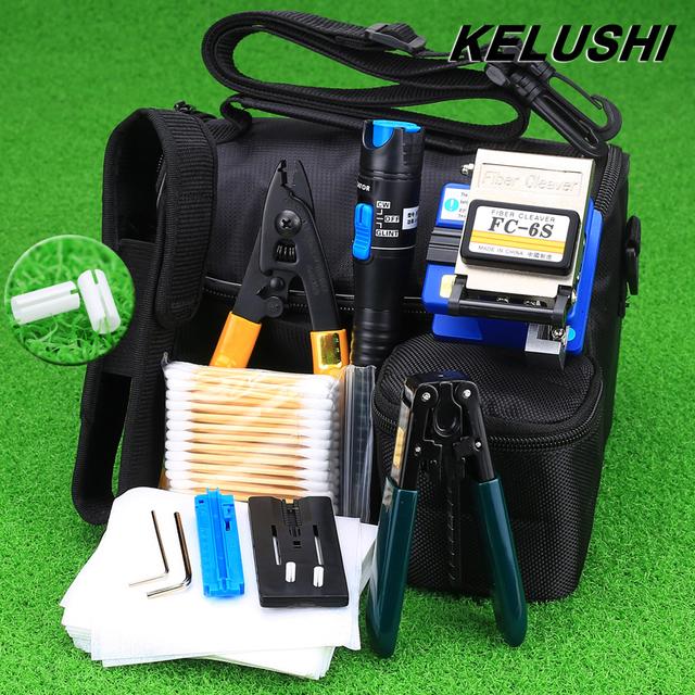 KELUSHI 13 En 1 Kit de Herramienta de Fibra Óptica FTTH con FC-6S Fiber Cleaver y 5 Mw Localizador Visual de Fallos y Fibra Stripper Herramienta Airlaid