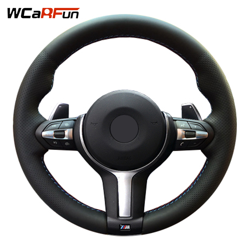 WCaRFun Genuine Leather Hand stitched Car Steering Wheel Cover for BMW M3 M4 2014 2016 F33