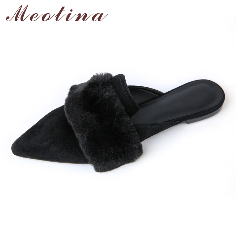 Meotina Brand Design Mules Shoes 2017 Women Flats Autumn Summer Pointed Toe Kid Suede Flat Shoes Ladies Slides Black Size 34-39 meotina brand design mules shoes 2017 women flats spring summer pointed toe kid suede flat shoes ladies slides black size 34 39